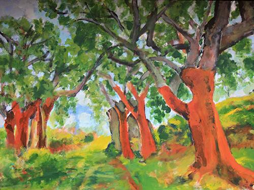 4Serie Los Guardianes del Bosque Alcornoques desnudos de Plasencia III 97 x 130 Técnica mixta sobre lienzo 2009
