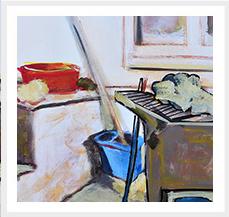 Palangana roja rota Fuera de Series 100 x 81 cm 2005 T mixta s lienzo Coleccion Nieves Concostrina Madrid