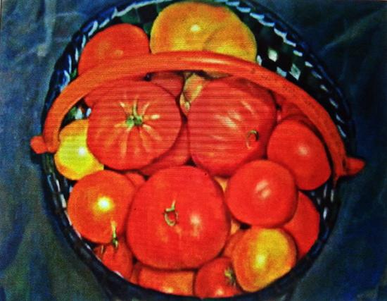 Tomates hurdanos 1  Fuera de Serie obra antigua  81 x 100 cm   Oleo sobre lienzo