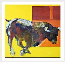 Toro V Serie Toros 60 x 73 cm 2010 Tecnica mixta s lienzo.JPG Coleccion M Muro