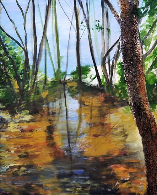 Arroyo del mal vecino Monfrague Serie Los Guardianes del Bosque  100 x 81 cm 2005 Coleccion Mr Paddy O'Flynn St Emilion-Burdeos Francia